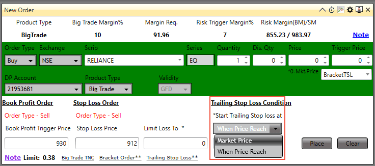 trailing stop loss sharekhan