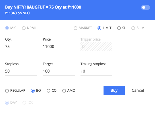 trailing stop loss zerodha example