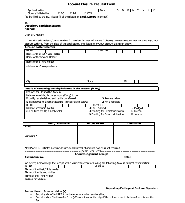 CDSL Account Closure Request Form